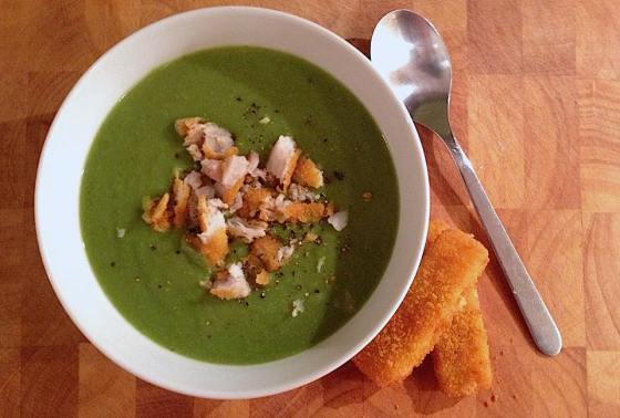 Pea and Chilli Soup with Fishy Croutons